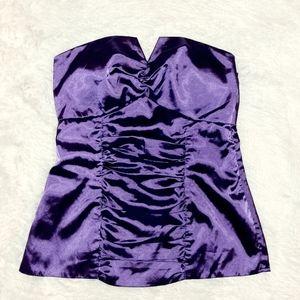 Purple satin strapless top